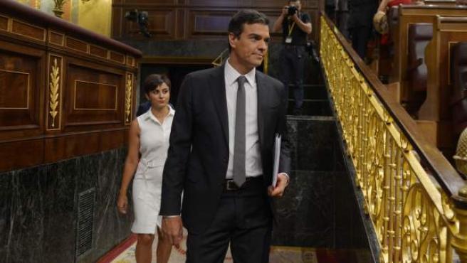 El secretario general del PSOE, Pedro Sánchez, en el Congreso de los Diputados.
