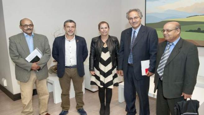 La Presidenta Barkos y el vicepresidente Laparra con la delegación saharaui