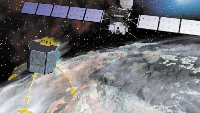 Imagen generada por ordenador de la sonda espacial Rosetta y su módulo de aterrizaje Philae, durante el acercamiento al cometa 67P.