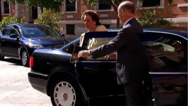 Rita Barberá llega en coche oficial a un acto en una imagen de archivo.