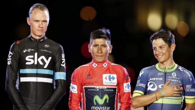Chris Froome, Nairo Quintana y Esteban Chaves en el podio de la Vuelta a España 2016.