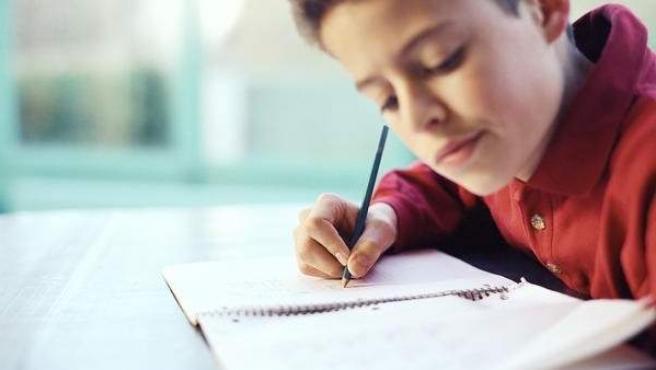 Un niño hace los deberes en casa.