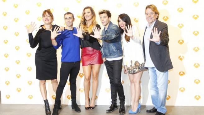 Yolanda Ramos, Canco Rodríguez, Lorena Gómez, Blas Cantó, Beatriz Luengo y Juan Muñoz durante la presentación de la quinta temporada de Tu cara me suena.