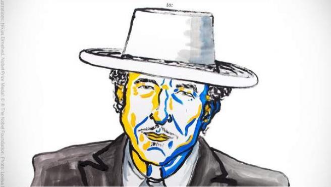 Cartel de la Academia Sueca que anuncia el Premio Nobel de Literatura 2016 para Bob Dylan.