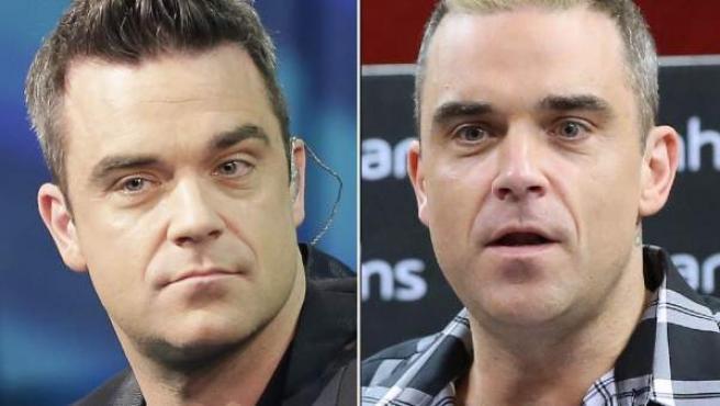 Robbie Williams: a la izquierda, en 2012. A la derecha, en el verano de 2015.