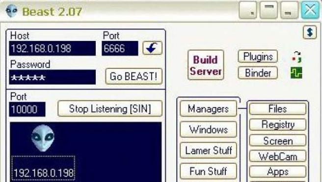 Captura de pantalla de Beast, un troyano que actúa en Windows.