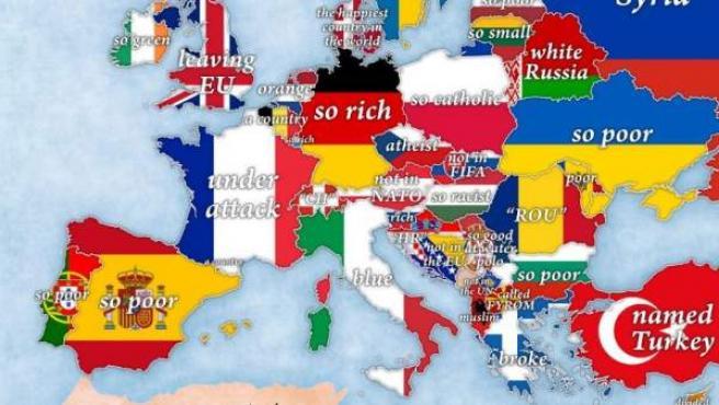 Mapa de Europa en función de las búsquedas efectuadas en Google desde Estados Unidos.