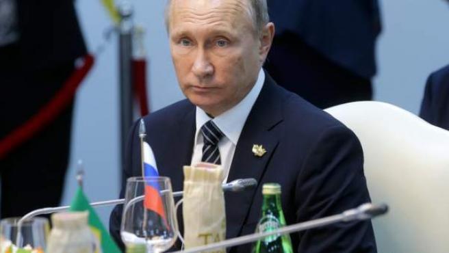 Vladimir Putin, durante la cumbre de los Brics celebrada en la India.