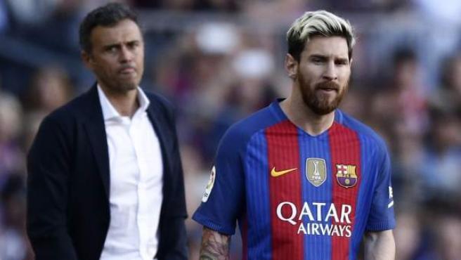 Leo Messi, en el Camp Nou junto a Luis Enrique Martínez.
