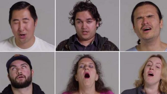 Montaje de fotos con los rostros de algunos de los participantes en un proyecto sobre las caras que pone la gente cuando tiene un orgasmo.