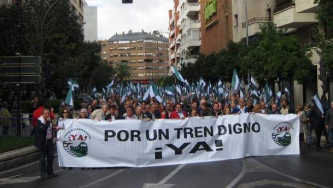Manifestación en Badajoz por un tren digno para la región