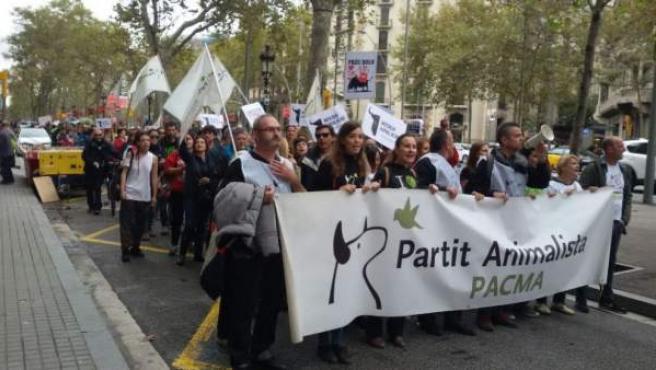 Imagen de una protesta antitaurina en Barcelona.