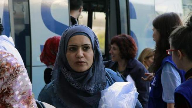 Un grupo de refugiados llega a Madrid.