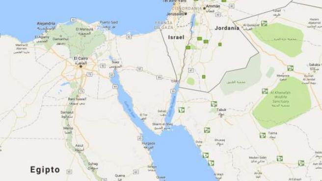 Mapa de la frontera entre Israel y Egipto, lugar en el que ha muerto un joven israelí de 15 años a causa de un tiroteo.