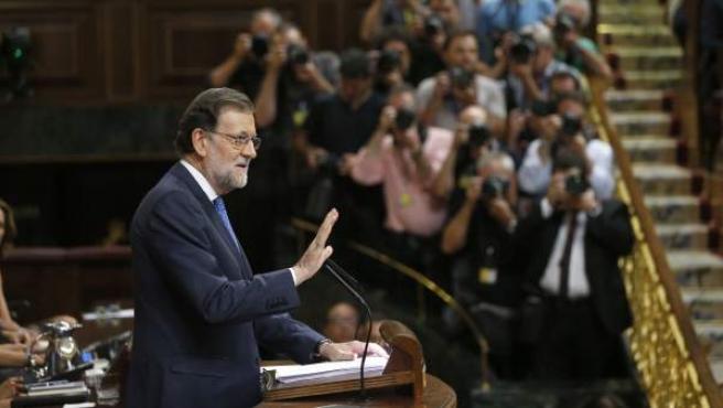 Rajoy, durante su discurso en el debate de investidura en agosto pasado.