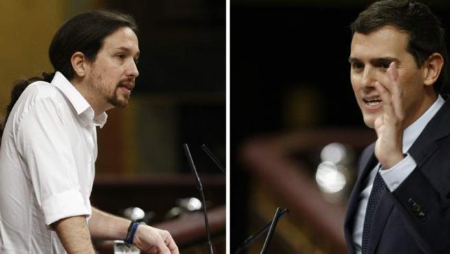 Pablo Iglesias y Albert Rivera en el debate de investidura en el Congreso