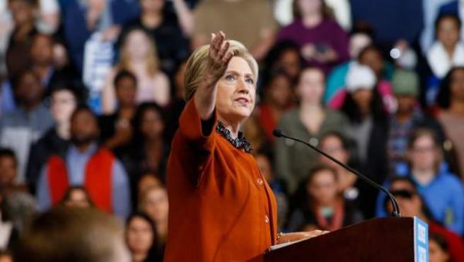 La candidata demócrata a la presidencia de EE UU, Hillary Clinton, en un mitin.