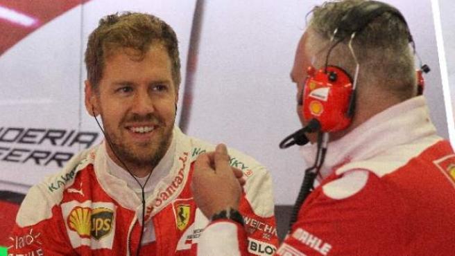 El alemán Sebastián Vettel, de Ferrari, en el Gran Premio de México.