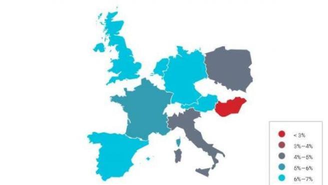 Mapa de Europa según su población LGTB.