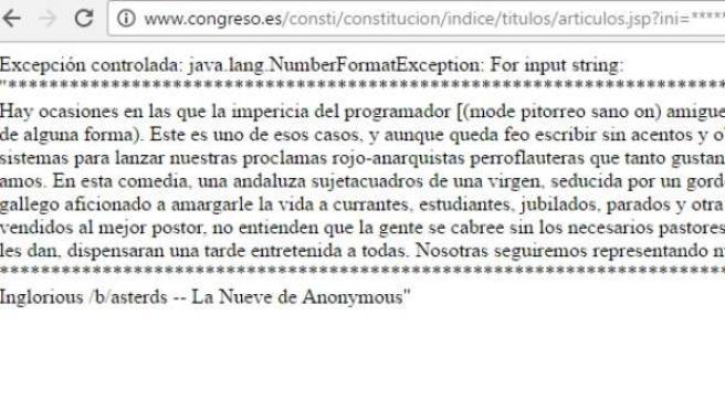 La web del Congreso, hackeada por Anonymous.