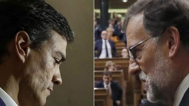 Pedro Sánchez y Mariano Rajoy, en dos imágenes de este 29 de octubre.