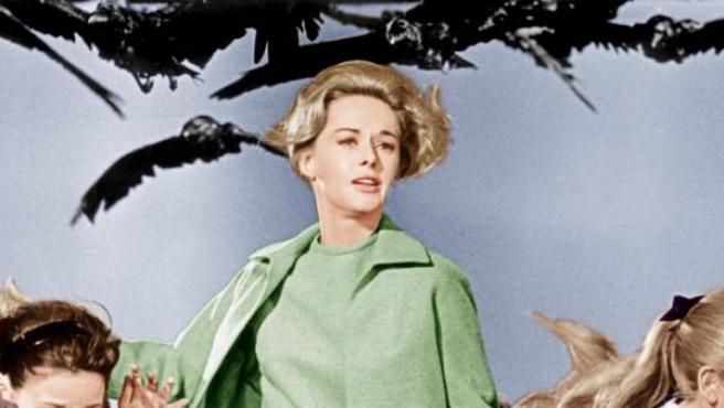 Tippi Hedren en una escena de 'Los pájaros'.