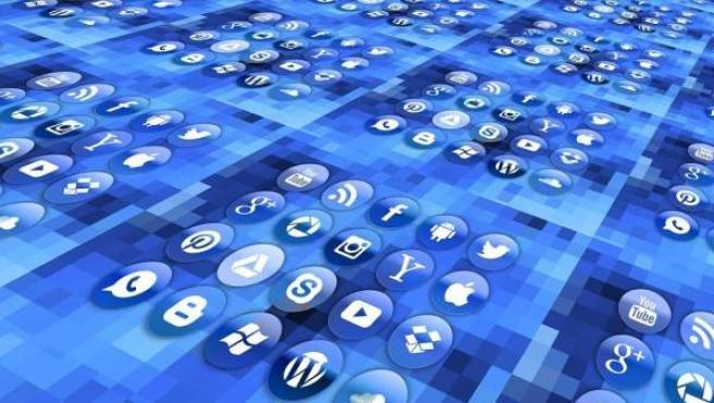 Logotipos de redes sociales y empresas de internet.