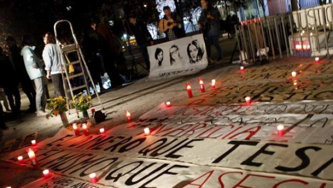 Vigilia en recuerdo de las cinco víctimas del Madrid Arena.