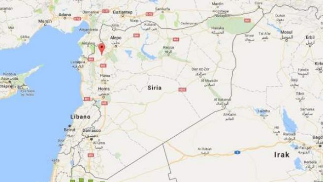 Ubicación de la ciudad siria de Idlib.