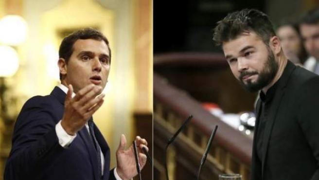 Montaje a partir de fotos de Rivera y Rufián en el Congreso.