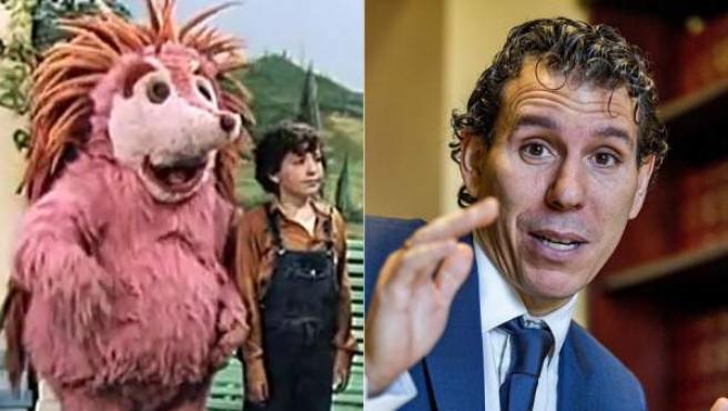Roberto Mayor, el niño que en los años ochenta fue el compañero de aventuras de Espinete en 'Barrio Sésamo', en una imagen actual y en el programa de TVE junto a Espinete.