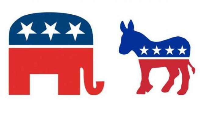 Los símbolos del Partido Republicano (elefante) y del Partido Demócrata (asno).