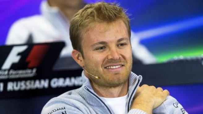 El piloto alemán de Fórmula Uno, Nico Rosberg de Mercedes durante la rueda de prensa.