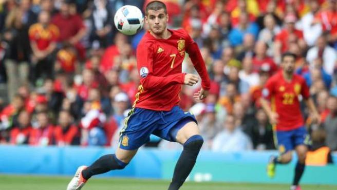 El delantero de la selección Álvaro Morata, con la selección española.