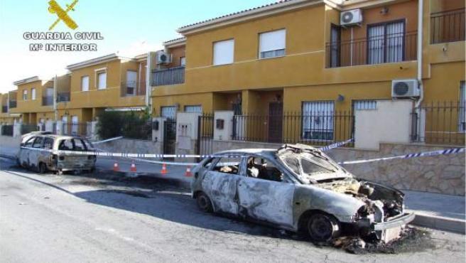 Imagen del vehículo quemado