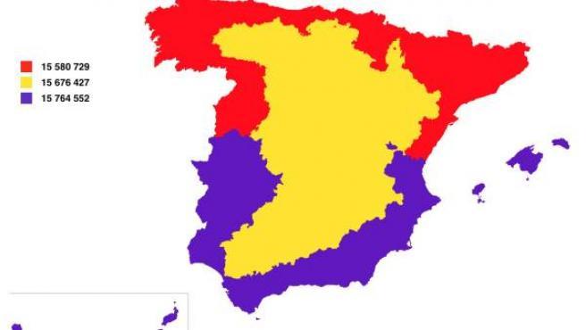 Mapa de España dividido en tres partes iguales, según su población.