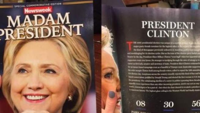 Ejemplares de la revista 'Newsweek' que recogen una victoria de Hillary Clinton que nunca se produjo.