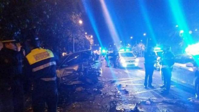 Accidente múltiple a la altura de la calle Torcuato Luca de Tena, Sevilla.