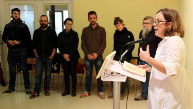 Eulalia Reguant, de la CUP, en rueda de prensa tras su Consejo Político