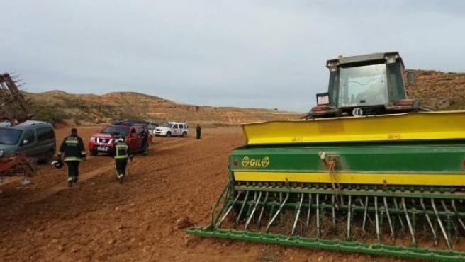 Accidente con una sembradora en Torrehermosa