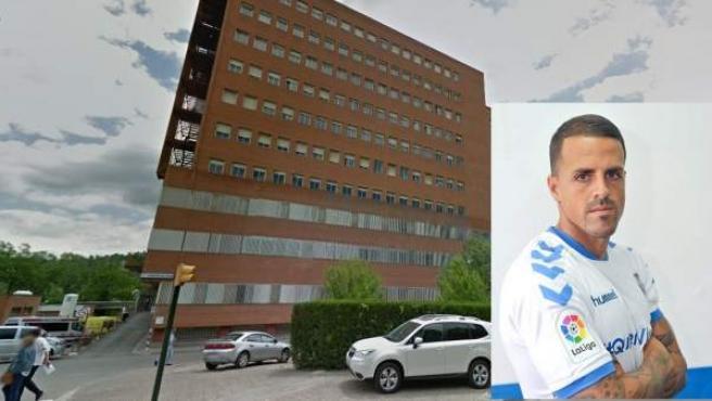 Imagen de la fachada del hospital Josep Maria Trueta de Girona, con una imagen incrustada del futbolista canario Vitolo.