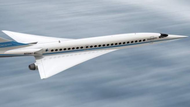 Una imagen generada por ordenador de Boom, el nuevo avión supersónico de Virgin Galactic.