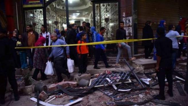 Lugar de la explosión donde ha fallecido un niño y otro resultó herido.