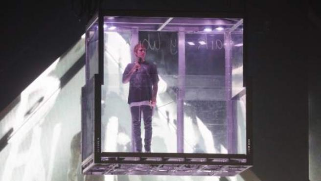 Una imagen de la 'performance' de Justin Bieber en su actual gira.