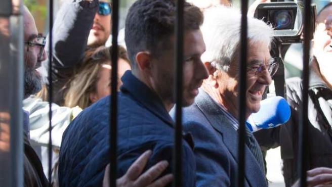 El delantero del Betis Rubén Castro, a su llegada a los juzgados