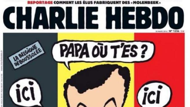 La nueva portada de la revista satírica 'Charlie Hebdo', en relación con el atentado en Bruselas el pasado 22 de marzo.