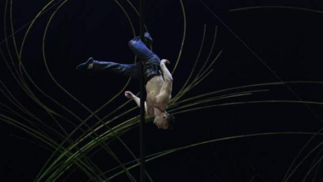Un artista del Circo del Sol, ensayando en 2016.