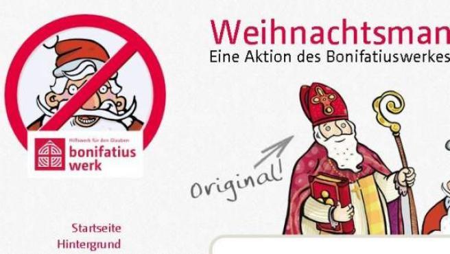 Captura de la web alemana que pretende sustituir la figura de Papá Noel por la de San Nicolás.