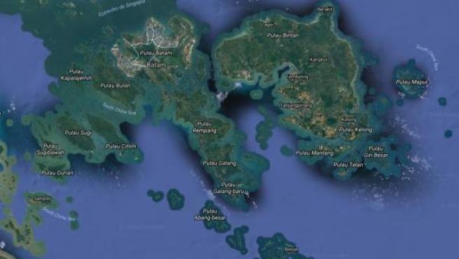 Vista satélite del archipiélago de las Riau, en Indonesia.