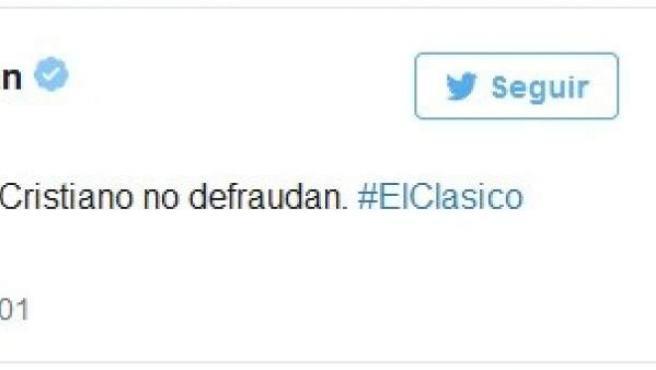 Tuit de Rufián sobre la evasión de impuestos de futbolistas con motivo del clásico.